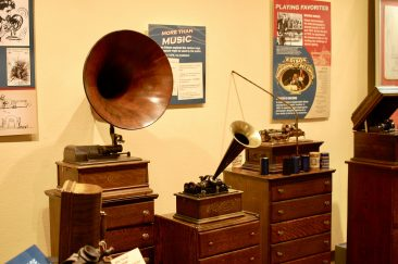 Displays of phonographs from Edison Ford museum